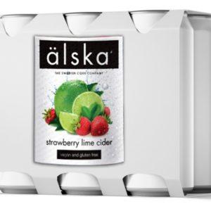Сидр фруктовый Alska Strawberry & lime fruit (Альска клубника и лайм) Швеция (упаковка 24шт × 0.5 л)